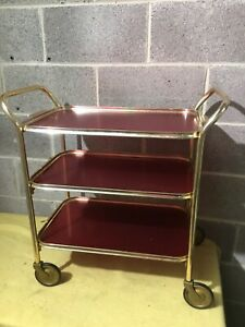 Vintage Retro 3 Tier Cocktail Drinks Trolley Removable Tray 70's Carefree UK