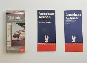 LOT OF 5 AMERICAN AIRLINES TIMETABLES- 1980s- 1990
