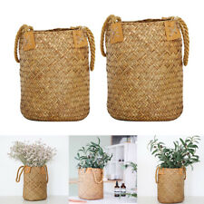 2x Flower Planter Straw Rattan Folding Basket Large Capacity Shopping Basket