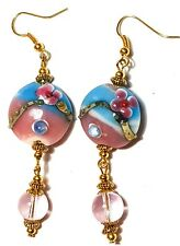 Large Long Gold Turquoise Pink Earrings Drop Dangle Lampwork Glass Beads