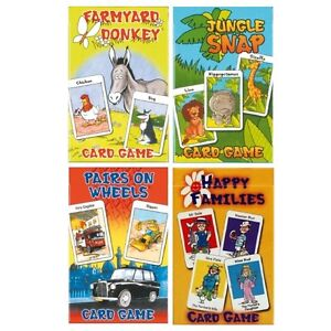 CHILDRENS Traditional Card Games - Happy Families Jungle Snap Donkey Pairs Snap