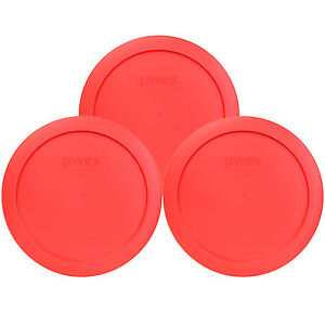 """Pyrex 7201-PC 6"""" Red Round Replacement Cover Lid New for 4 Cup Glass Bowl 3PK"""