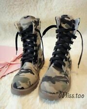 2019 Fashion Womens Lace Up Camouflage Camo Casual Combat Motorcycle Ankle Boots