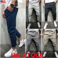 Mens Gym Slim Fit Trousers Gym Bottoms Skinny Joggers Sweat Track Plain Pants US