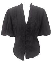 M& S Black Cotton Silk Mix Puff Sleeve  Victoriana Gypsy 14