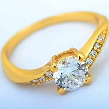 Lovely Gorgeous Vintage vogue 9K Yellow Gold Filled CZ  Women Ring Size:6