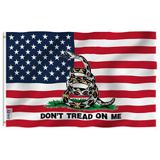 Anley Fly Breeze 3x5 Ft Gadsden American Flag- Don't Tread on Me Patriotic Flags