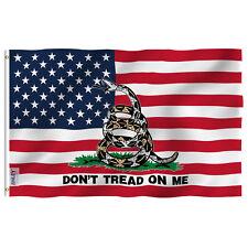 Anley Fly Breeze 3x5 Ft Gadsden American Flag - Don't Tread on Me Patriotic Flag