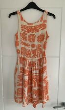 Topshop Orange White Tribal Animal Print Mini Cami Summer Skater Dress 6 VGC
