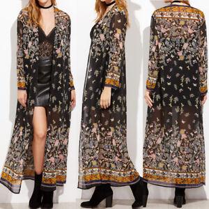 UK Womens Summer Bohemia Floral Beach Long Tops Kimono Cardigan Sun Coat Jacket