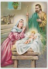 1963 cartolina d'epoca Sacra Famiglia Gesù Bambino Madonna Giuseppe bue asino