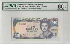 1999 Bermuda, Monetary Authority Ten Dollars Fancy no 000777 PMG 66 Gem-Unc