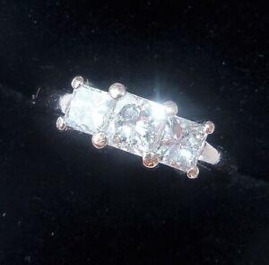 18ct White Gold 1.00ct Princess Diamond Trilogy Ring, Size I1/2