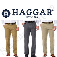 NEW Haggar Men's Sustainable Stretch Chino Flat Front Straight Fit Pants-VARIETY