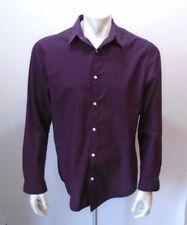 H&M Slim Fit Maroon Blue Plaid Long Sleeve Men's Button Down Shirt Size Large