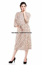 Indian Cotton Block Printed Long Kimono Bath Robe Floral Nightdress Nightgown