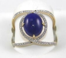 Oval Lapis Lazuli Gemstone & Diamond Halo Ring 14k Yellow Gold 2.96Ct