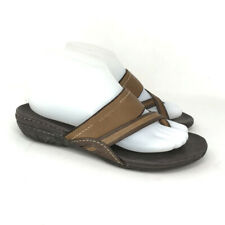Merrell Womens 858145 Brown Thong Flip Flop Sandals Leather Size 8 Open Toe Flat