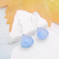 Chalcedon blau Design Ohrringe Hänger Haken Ohrhänger 925 Sterling Silber neu