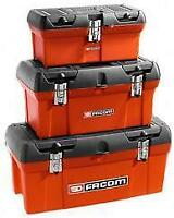 FACOM TOOLBOX RED BLACK PLASTIC WITH TOTE TRAY 410mm LONG  (41CM)