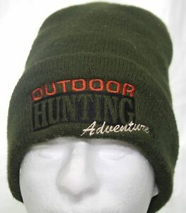 Outdoor Hunting Adventure Beanie Winter Hat Green Cuffed Knitted Cap Adult 1Size