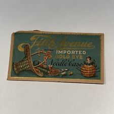 Vtg Fifth Avenue Imported Gold Eye Needle Case Blue & Gold Cover Sewing Needles
