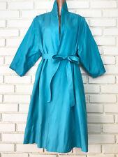 VTG Lilli Diamond of California Blue Trench Overcoat Belted Waist Stand Collar