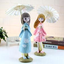 Adorable Figura Estatua Estatuilla De Resina Artesanal De Escritorio Kimono Niña Adorno Decoración