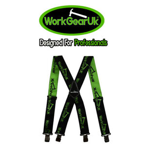 "Heavy Duty Work Trouser Braces 2"" Elasticated Green & Black WG-HDB03"