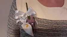 Ladies Plum & White Buttonhole