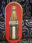Vintage 1938 Coca Cola Anniversary Thermometer Sign - Embossed Christmas Bottle