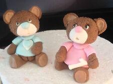 8cm Teddy Bear edible Fondant Boy Girl Christening Baby Shower Cake Topper