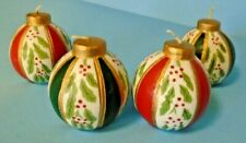 Christmas Ornament Candle Set Of 4 Crafted Candles Hand Painted Round