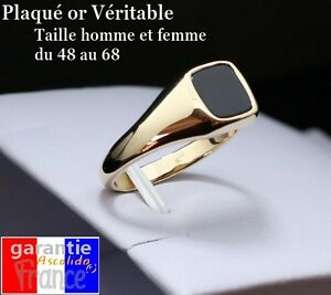 Signet Ring Real Gold Plated With Up Square Black for Men Woman 54 58