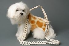GIRAFFE color pet small dog carrier harness sling puppy purse beige white S, M