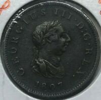 1807 Great Britain 1/2 Half Penny