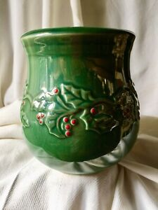 Holly Berry ~ American Atelier Vase Planter Stoneware Christmas Green Red