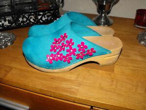 SANITA Sandalen Leder Holz Clogs BLUMEN Muster Dänemark Sandaletten Schuhe Gr.36