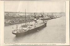 33 BORDEAUX IMAGE BATEAU RELATION AVEC LES COLONIES 1942 OLD PRINT
