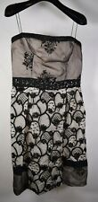 Alessandro Dell'Acqua Dress Black Ivory Lace Strapless Above Knee 42 Womens