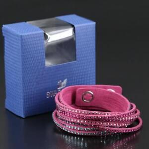 Swarovski Crystal Suede Wrap Bracelet Fuschia NEW IN BOX