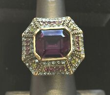 Heidi Daus Tricolor Crystal-Accented Ring Sz 7