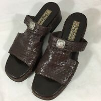 Brighton Brown Woven Leather Slides Sandals Size 7.5 N Pre Owned BRAZIL Silver