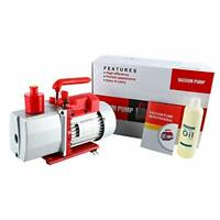 8CFM 2-Stage Rotary Vane Vacuum Pump (0.3Pa, 1HP) for HVAC/Auto AC US STOCK