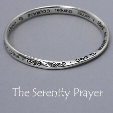 Serenity Prayer Bangle Bracelet Swirl Design BentMetal SILVER Religious Jewelry