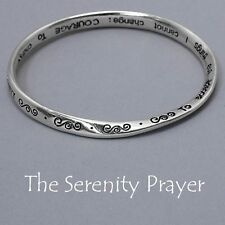 Serenity Prayer Bangle Bracelet Swirl Design BentMetal SILVER Religious Jewelry