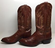 #E MENS  JUSTIN  COWBOY LIZARD SKIN BROWN BOOTS SIZE 9.5 EE