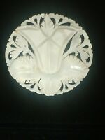 Signed Bethlehem Carved Mother Of Pearl Shell Floral Pin Brooch Jewelry Vintage