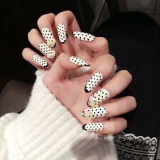 24pcs Zebra Spot Long Fake Nails Oval Flower Decor Nail Tips with Glue Sticker