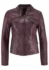 AJC veste en cuir en motard style, taille 34, prune-bordeaux